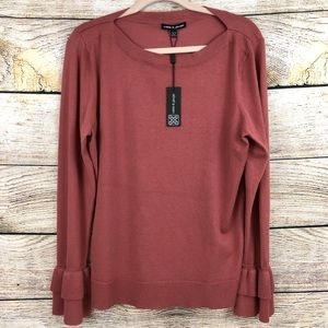 Cable and Gauge Red Ruffle Long Sleeve Shirt XL